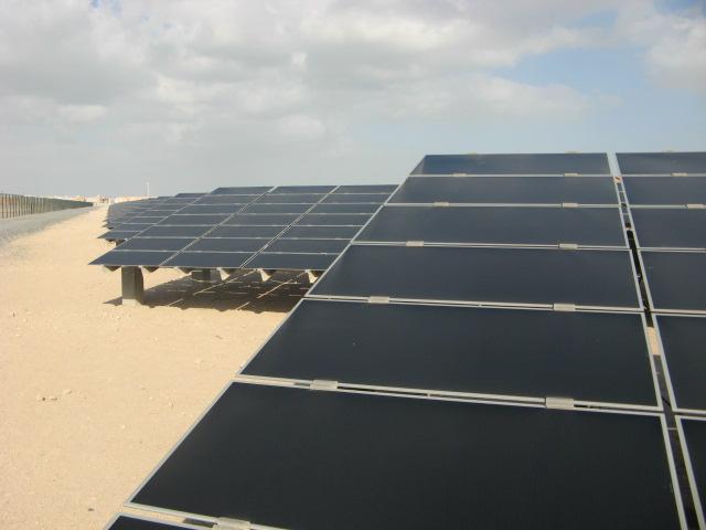 Masdar City 10 MW solar power plant up close. Credit: Marika Krakowiak / ZacharyShahan.com.