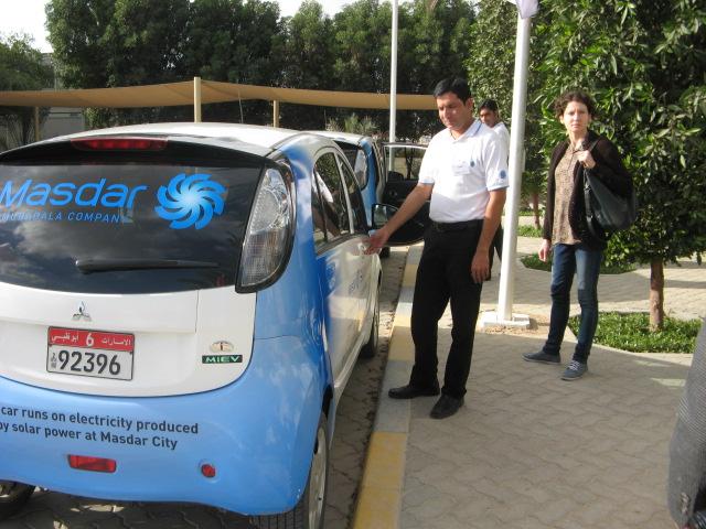 Masdar City Mitsubishi i electric cars. Credit: Zachary Shahan.